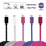 TayTech 6FT [ 3 PACK ] Micro USB Cable Braided Flat Noodle Micro USB Cable High Speed USB 2.0 A Male to Micro B Sync and Charging Cables for Samsung, HTC, Motorola, Nokia, Android,