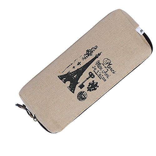 KFSO Pencil Bag,Eiffel Tower Hot Vintage Canvas Pen Case Zipper Coin Purse Pouch Cosmetic Makeup ()
