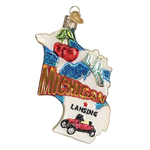 Old World Christmas Ornaments: State of Michigan Glass Blown Ornaments for Christmas Tree (Michigan State Christmas Ornaments)