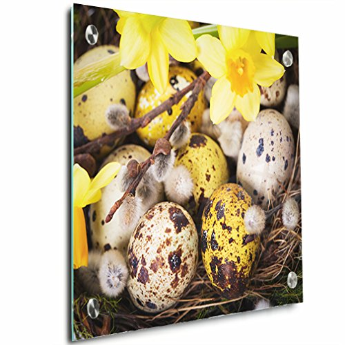 Easter Eggs In Nest With Narcissus Acrylic Print Wall Decor