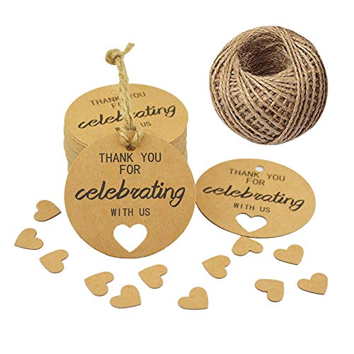 k You for Celebrating with Us Tags,Kraft Thank You Tags for Wedding Party Favors,100 PCS/2