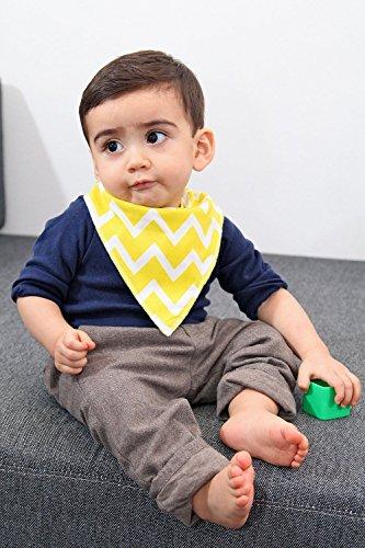 iZiv Baberos del Bebé - Paquete de 4 Diseños Pañuelo con Snaps Ajustables, TPU Impermeable Guarnición para niño 0-2 años (Color-5) Color-1