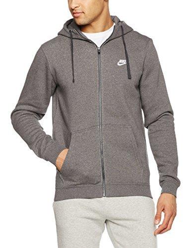 Nike Mens Sportswear Full Zip Club Hooded Sweatshirt Charcoal Heather/White 804389-071 Size 3X-Large