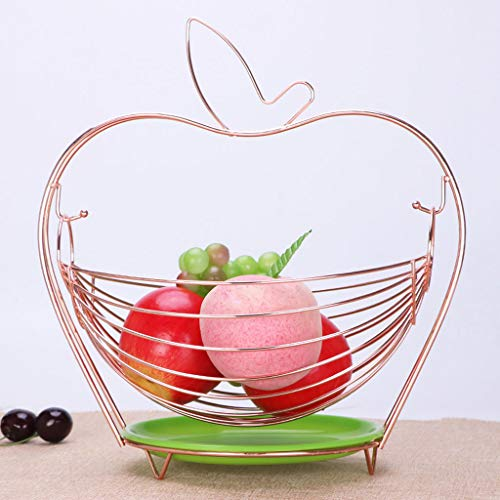 GX Fruit Basket Stainless Steel Bowl With Water Tray Fruit Plate,Household Living Room Decoration Candy Dish/Fruit Basket (color : Rose gold)