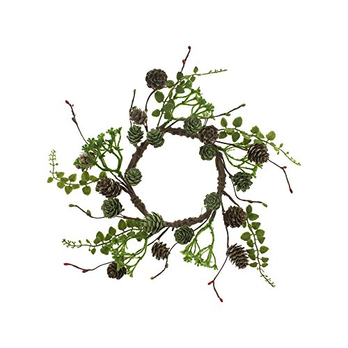 FX69536CL Green Pinecone Candle Ring Green,11 (Pinecone Candle Ring)