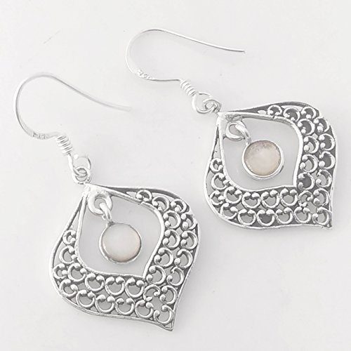 Mother of Pearl 925 Sterling Silver Dangle Filigree Earrings, Handmade Jewelry for Women, Sterling Silver Earrings