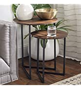 Walker Edison Modern Round Metal Base Nesting Set Side Accent Table Living Room Storage Small End...