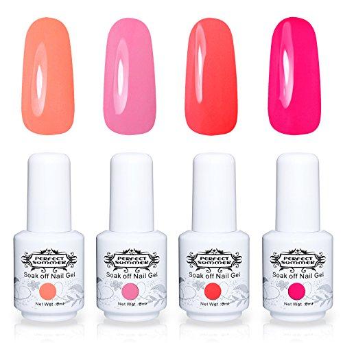 Perfect Summer Nail Gel Polish 4PCS Neon Colors Gel Nail Soak Off UV LED Home Gel Manicure Starter Kit Bright Pink 8ML/Each 005