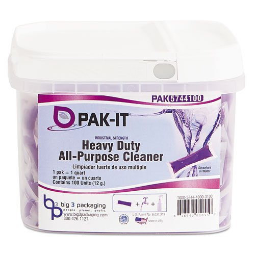 PAK-IT 574420003400 Heavy-Duty All-Purpose Cleaner, Pleasant Scent, 100 PAK-ITs/Tub