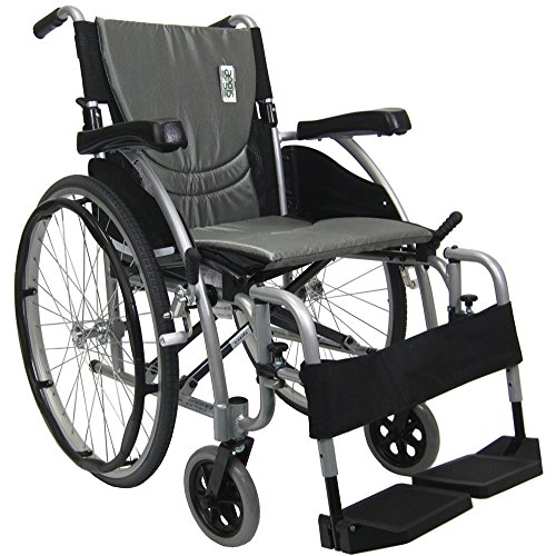 Karman Healthcare S-Ergo115F18SS S-Ergo 115 18 in. seat Ultra Lightweight Ergonomic Wheelchair with Swing Away Footrest in Silver