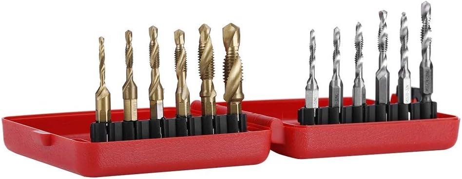 Screw Taps Kit,Screw Thread Metric Inch Tap Drill Bits,12 Pieces