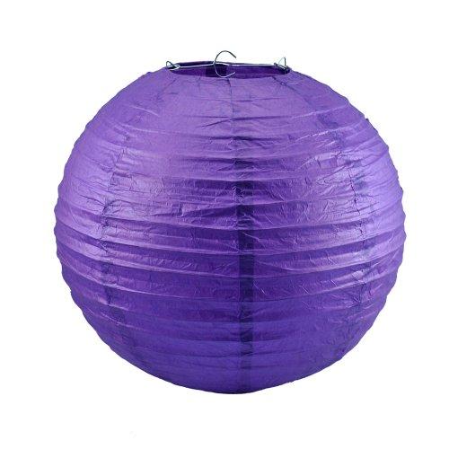 """FreeDancer 8"""" Diameter Round Paper Lantern Lamp Shades Party Supplies (10pack, Purple)"""