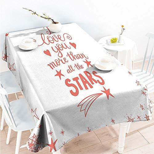 for Spring/Summer Tablecloth Decorative Fabric Table Cover Quote of Infatuation Surrounded by Stars Scribble Art for Valentines W 70