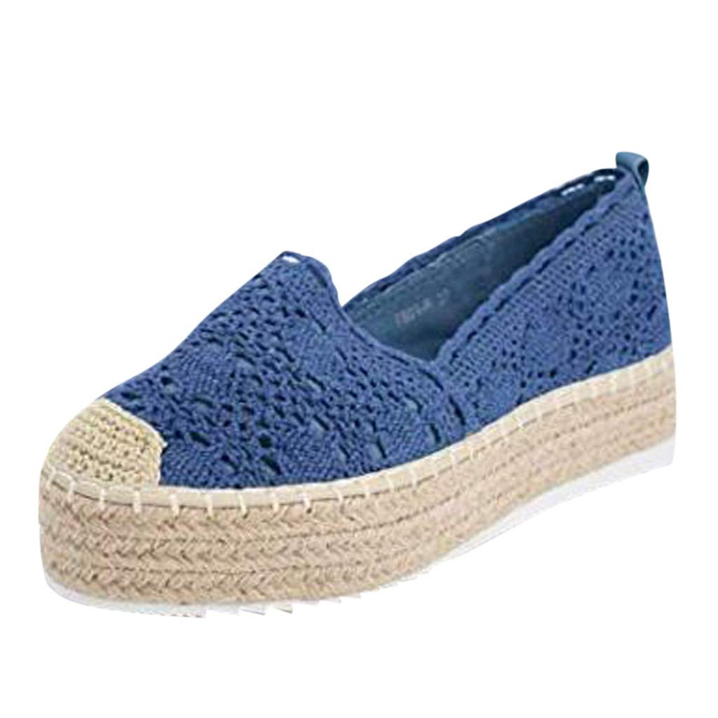 HENWERD Women's Hollow Platform Casual Shoes Solid Color Breathable Wedge Espadrilles (Blue,5 US)