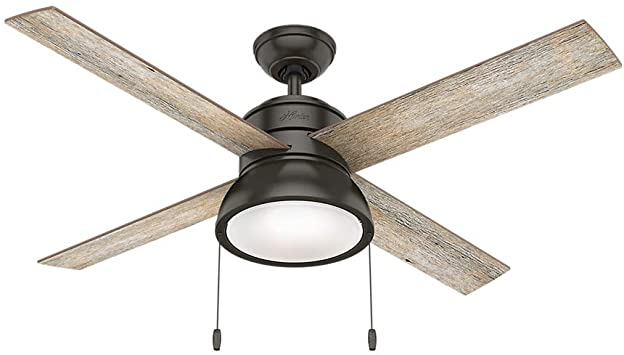 Ceiling Fan LED Indoor Barn Wood Noble Bronze With Light Hunter Oak for 48 in