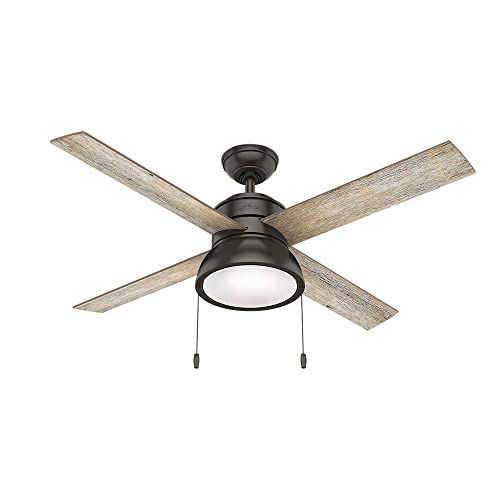 Hunter Indoor Ceiling Fan with LED Light and pull chain control – Loki 52 inch, Nobel Bronze, 54152