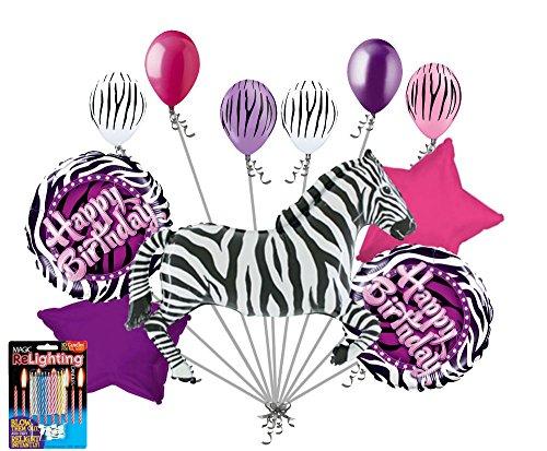 11pc Zebra Balloon Bouquet Happy Birthday Decoration Safari Jungle Animal Purple