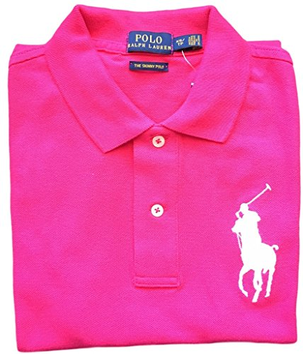 Polo Ralph Lauren Womens Big Pony Polo (Large, Pink White - Pink Ralph