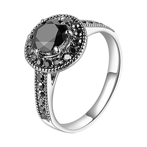 Mytys Vintage Jewelry Fashion Silver Ring Women Black Round Cut Marcasite Stone (10)
