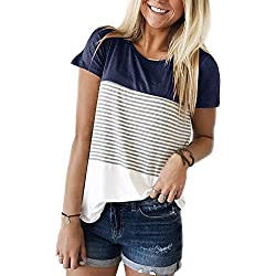 FOMANSH Women's Tops Short Sleeve Round Neck Striped Color Block T-Shirts Casual Blouse