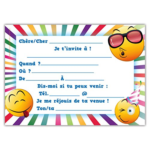 Lot De 12 Cartes D Invitation Pour Anniversaire Partie Fête Cartons D Invitation En Français Emoji Let S Party