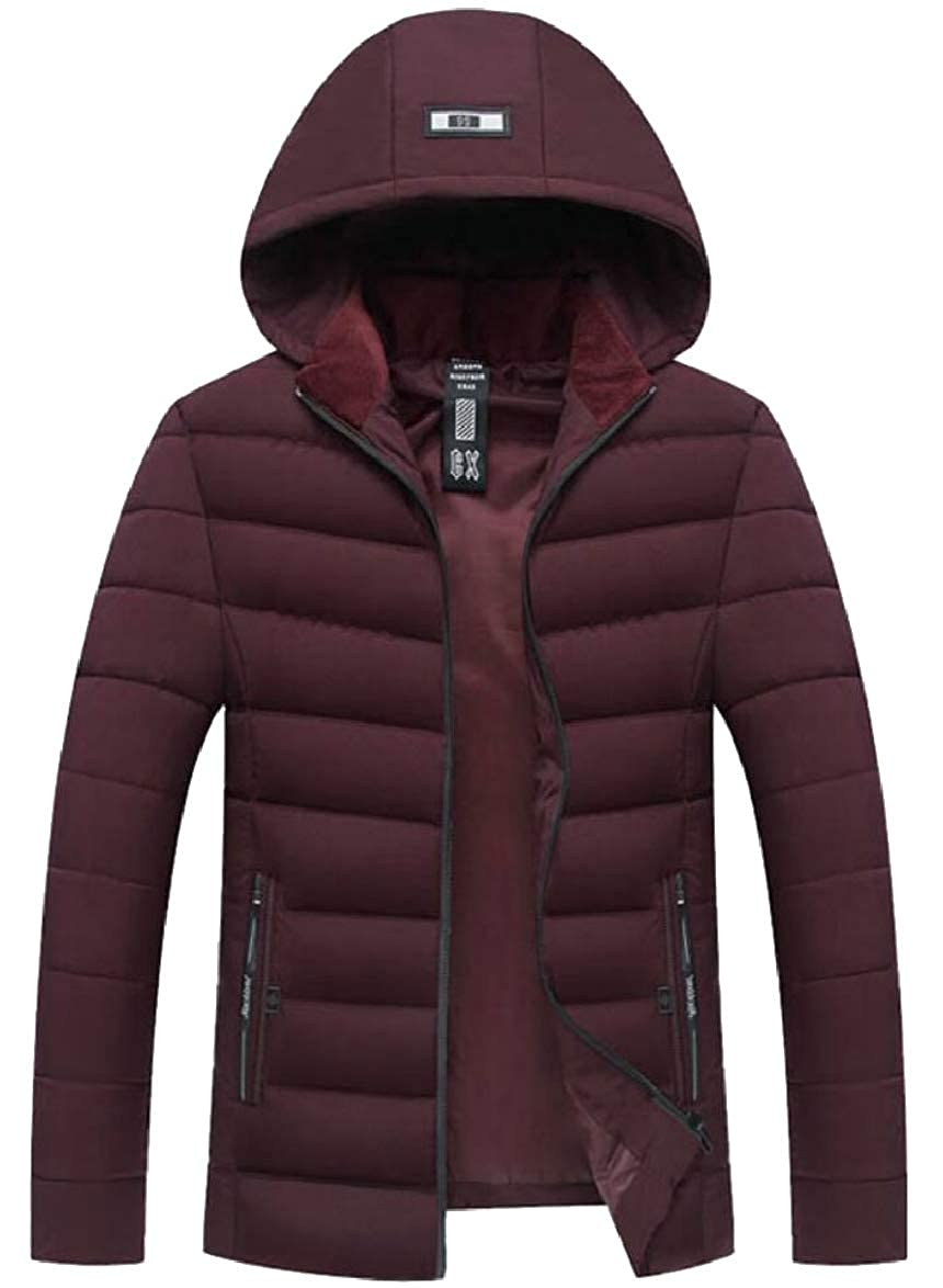 ouxiuli Mens Quilted Slim Fit Warm Casual Solid Color Thicken Down Jacket Coat