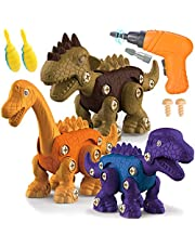 TEUVO Take Apart Dinosaur Toys for Kids, 3 Packs Take Apart Toys with Electric Drill Screwdrivers, Learning Building Toys Set Play STEM Gift for 3-7 Years Old Boys and Girls