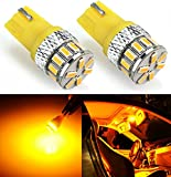 JDM ASTAR Extremely Bright Canbus Error Free 3014 Chipsets 194 168 2825 W5W T10 LED Bulbs, Amber Yellow