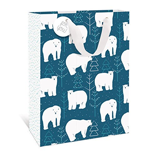 Graphique Polar Bears Large Gift Bag - Holiday Gift Bag with Cute Polar Bears in Pine Forest, Embellished With Glitter and Grosgrain White Ribbon Handles and Coordinating Gift Tag, 10.5
