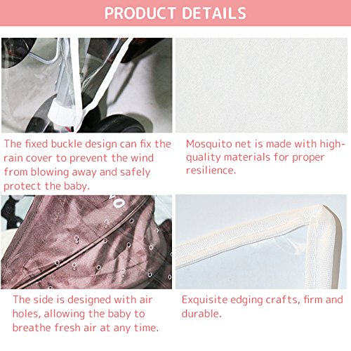 WINGOFFLY Rain Cover and Mosquito Net for Baby Twins Stroller Side by Side Universal Size Stroller Raincover Waterproof, Windproof and Anti-Insect by WINGOFFLY (Image #3)