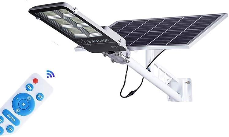 WOLJW Luz de Granero de Seguridad LED IP65 de 300W, farolas solares con Sensor de Movimiento al Aire Libre, 3300 lúmenes con iluminación Control Remoto para Patio, jardín, canalón, Camino (con Poste):