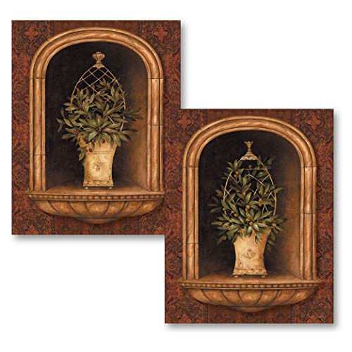Gango Home Décor Olive Topiary Niches I Lovely Italian Olive Bush Set; Two 8X10 Poster Prints (Kitchen Olive Decor)