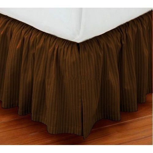 Ivory King 30' Drop (Vedanta Home Collection Hotel Quality 700-Thread-Count Egyptian Cotton King Size One Piece Dust Ruffle Bed Skirt 18 Inch Drop Length Brown Striped)