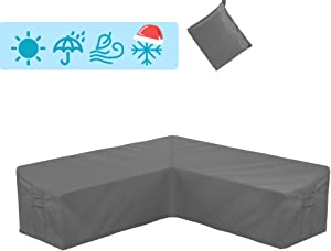 STARTWO Outdoor V Shaped Sectional Sofa Cover,Heavy Duty Waterproof Patio Sectional Furniture Set Covers Premium Durable Fabric Garden Couch Protector Designed with Windproof Straps (Gray)