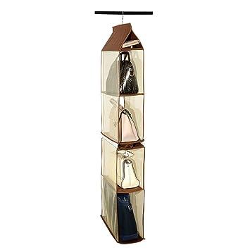 OUNONA Bolso colgante extraíble 4 Bandeja Organizador Colección de bolsas Soporte de almacenamiento Bolsa de ahorro de espacio del armario (Café): ...