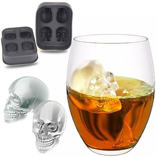 JIXIAO Mold Halloween 3D Skull Head Ice Cube Mold Home Bar Silicone 4 Lattice Ice Cube Biscuit Cake Chocolate Maker Moulds JIXIAO ()