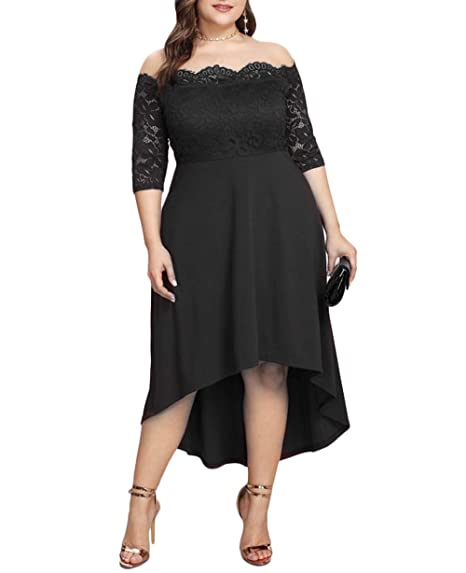78e81232875 ESPRLIA Women s Plus Size V Neck 3 4 Sleeve Bridesmaid Swing Party Formal Lace  Dress