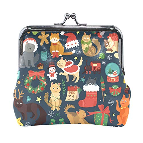 JERECY Cute Cartoon Animal Forest Chrismats Cats Coin Purse Leather Mini Clutch Pouch Wallet for Women Girls -