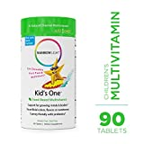 Rainbow Light - Kids One Food-Based Multivitamin - Chewable Probiotic, Vitamin, and Mineral Supplement; Soy and Gluten-Free; Supports Brain, Bone, Heart, Eye and Immune Health in Kids - 90 Tablets