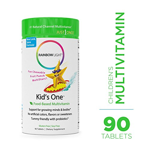 Rainbow Light - Kids One Food-Based Multivitamin - Chewable Probiotic, Vitamin, and Mineral Supplement; Soy and Gluten-Free; Supports Brain, Bone, Heart, Eye and Immune Health in Kids - 90 Tablets by Rainbow Light