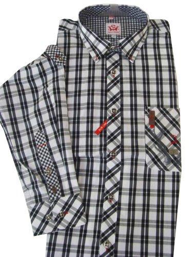 Trendiges schwarz weiß kariertes Trachenthemd für Herren Ramon