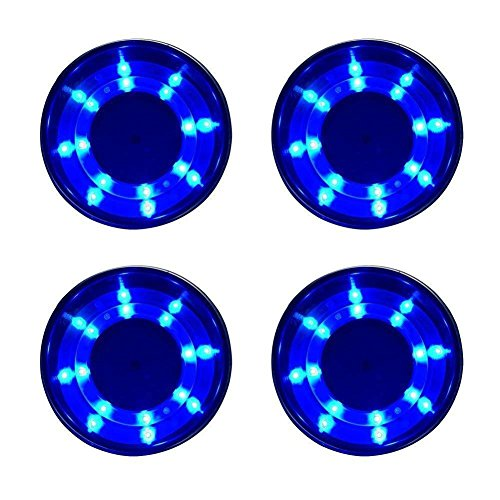 new 4 Pieces LED Blue Stainless Steel Cup Drink Holder with Drain & LED Blue Marine Boat Rv Camper, Dimensions: 4'' H - 3 1/2'' ID, 4 1/4'' OD, with flange. by new