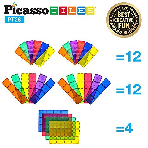 "PicassoTiles 28 Piece 12""x9"", 12""x3"", 9""x3"" Large Stabilizer Building Block Base 28pc Jumbo XL Plate Foundation Kit Magnetic Building Blocks Magnet Tiles Educational Construction Stacking STEM Toy Set"