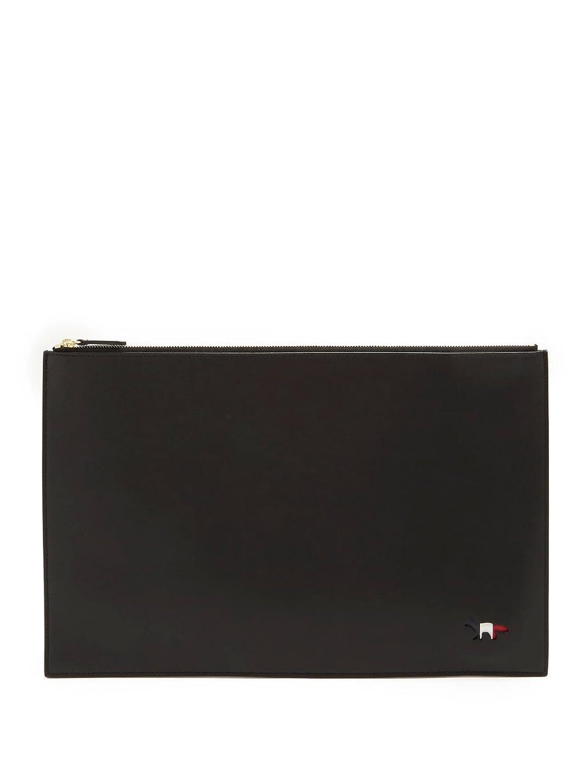 【MAISON KITSUNE (メゾン キツネ)】クラッチバッグ ブラック BLACK 無地 [並行輸入品] B07DK56Z89