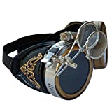 Steampunk GogGLes VicTORian Novelty Glasses cosplay Antique filigree S2 (Black 1x)
