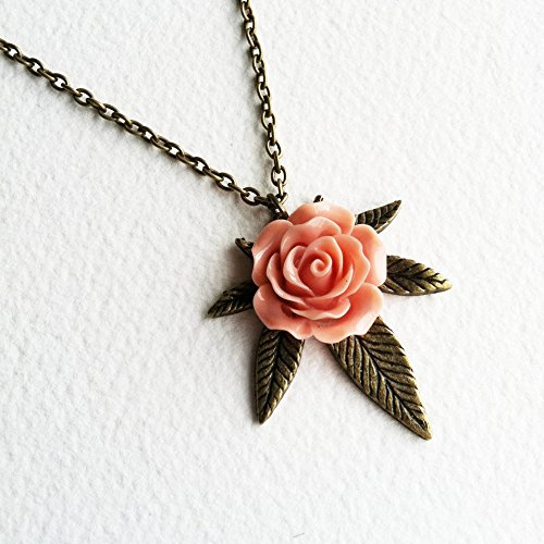 Marijuana Rose Necklace, Cannabis Jewelry, Bronze, Marijuana Jewelry, Marijuana Gift, Coral, Pink, Weed, Cannabis, Brass Necklace, Vintage