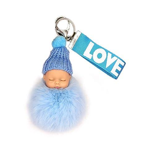El dormir lindo de la muñeca del bebé llavero mini bola de ...
