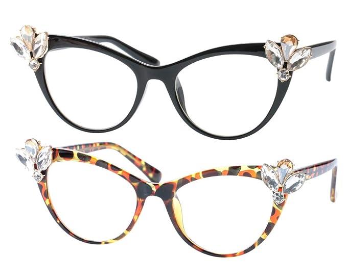 9a0d2c212696 SOOLALA Ladies Rhinestones Cat Eye Reading Glasses Fashion Eye Glass Frame