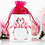 Personalised Pink Flamingo VDm016 Funny Love Valentines White Cup Mug Gift Comes with Hearts Shaped Milk Chocolates in a Gift Box Add a name by Krafty Gifts