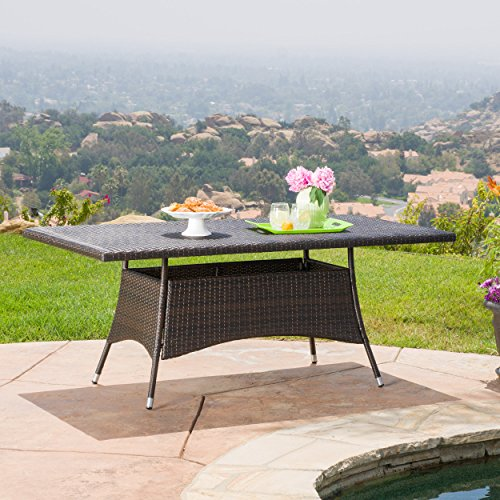 Rectangle Outdoor Dining Table - GDF Studio Manteo Multi Brown PE Rectangle Dining Table